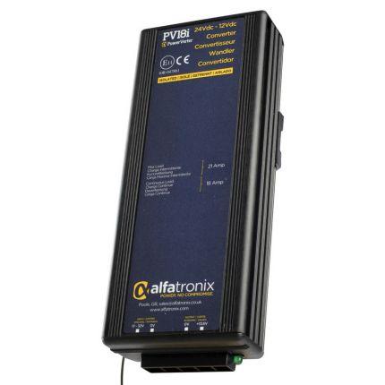 Convertidor CC-CC 24-12 VDC, potencia 18/22A, aislado